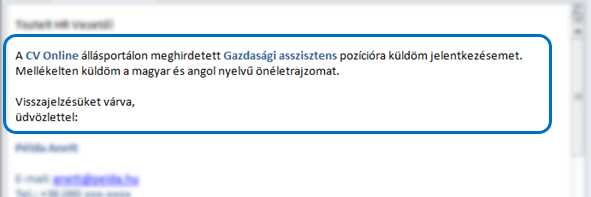 e-mail tartalom