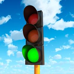 zöldet mutató lámpa