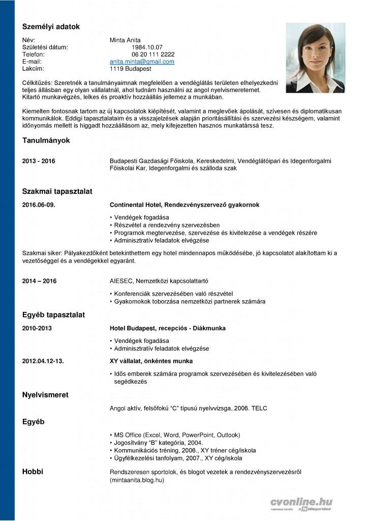 szakmai önéletrajz formátum Önéletrajz minta pályakezdőknek   letölthető sablonnal! | Cvonline.hu szakmai önéletrajz formátum