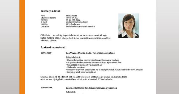 önéletrajz ingyen Önéletrajz Minta – Ingyenes Letölthető Sablonnal! | Cvonline.hu önéletrajz ingyen
