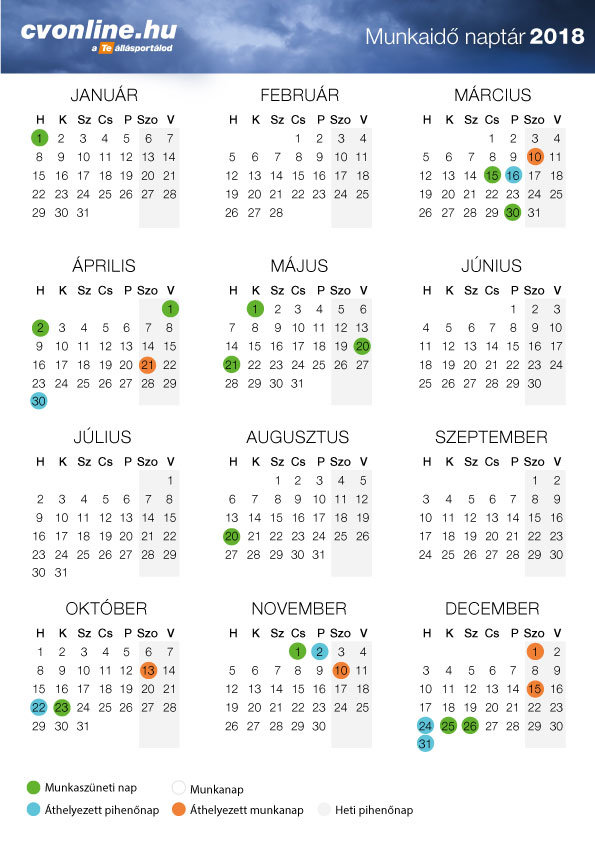 2019 es naptár nyomtatható Munkaidő naptár 2018   nyomtatható verzióval [PDF] | Cvonline.hu 2019 es naptár nyomtatható
