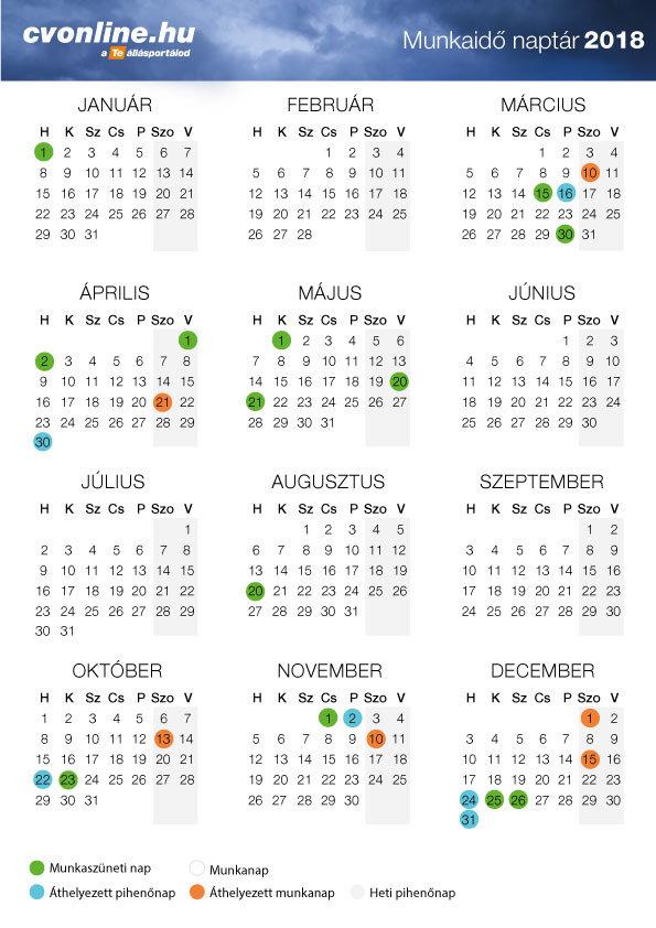 munkaidő naptár 2019 pdf Munkaidő naptár 2018   nyomtatható verzióval [PDF] | Cvonline.hu munkaidő naptár 2019 pdf