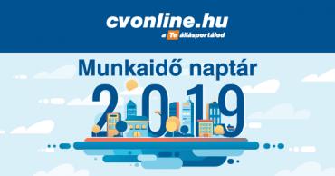 Munkaidő naptár 2019 – letölthető verzióval (pdf)